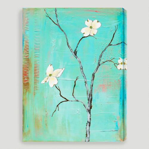 """Dogwood on Turquoise I"" by Laura Gunn"