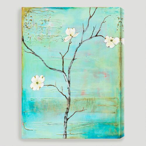 """Dogwood on Turquoise II"" by Laura Gunn"