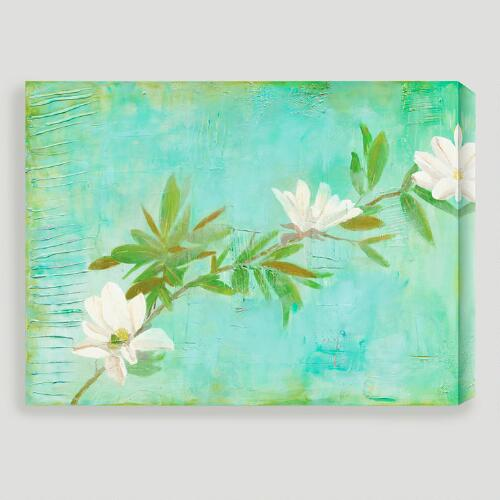 """Magnolias on Turquoise"" by Laura Gunn"