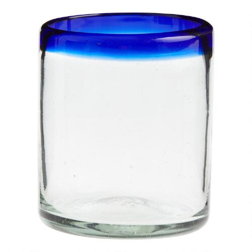 Blue Rocco Double Old Fashioned Glasses, Set of 4
