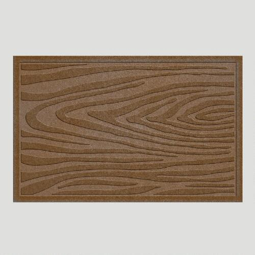 Dark Brown Wood Grain WaterGuard Doormat