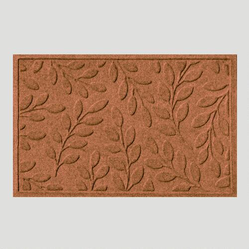 Dark Brown Leaf WaterGuard Doormat