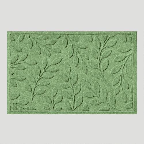 Light Green Leaf WaterGuard Doormat
