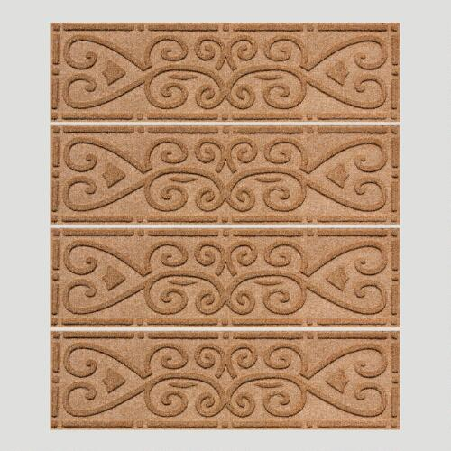 Medium Brown Scroll WaterGuard Stair Treads, Set of 4