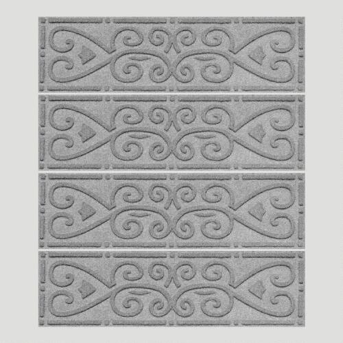 Gray Scroll WaterGuard Stair Treads, Set of 4