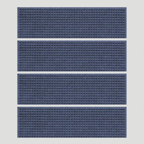 Navy Squares WaterGuard Stair Treads, Set of 4