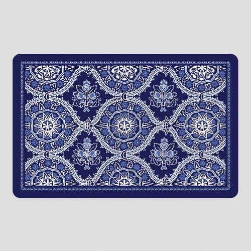 Blue Floral Cushioned Floor Mat