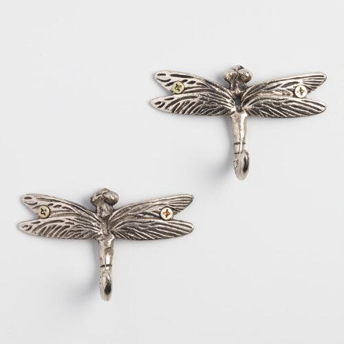 Dragonfly Metal Hooks, Set of 2