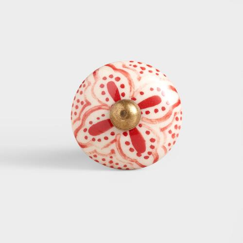 Red Basic Ceramic Floral Knobs, Set of 2