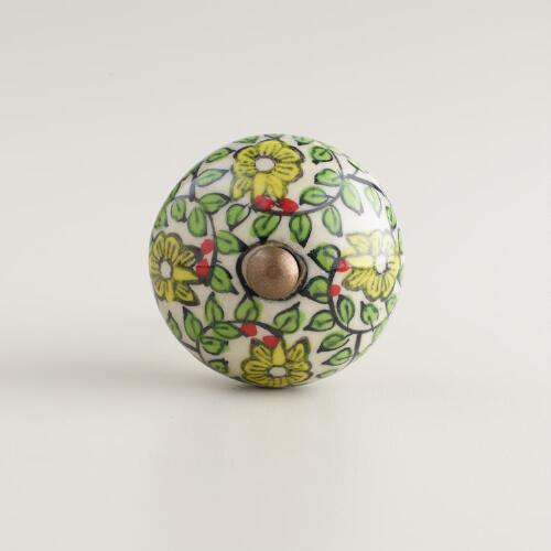 Green Floral Swirl Ceramic Knobs, Set of 2