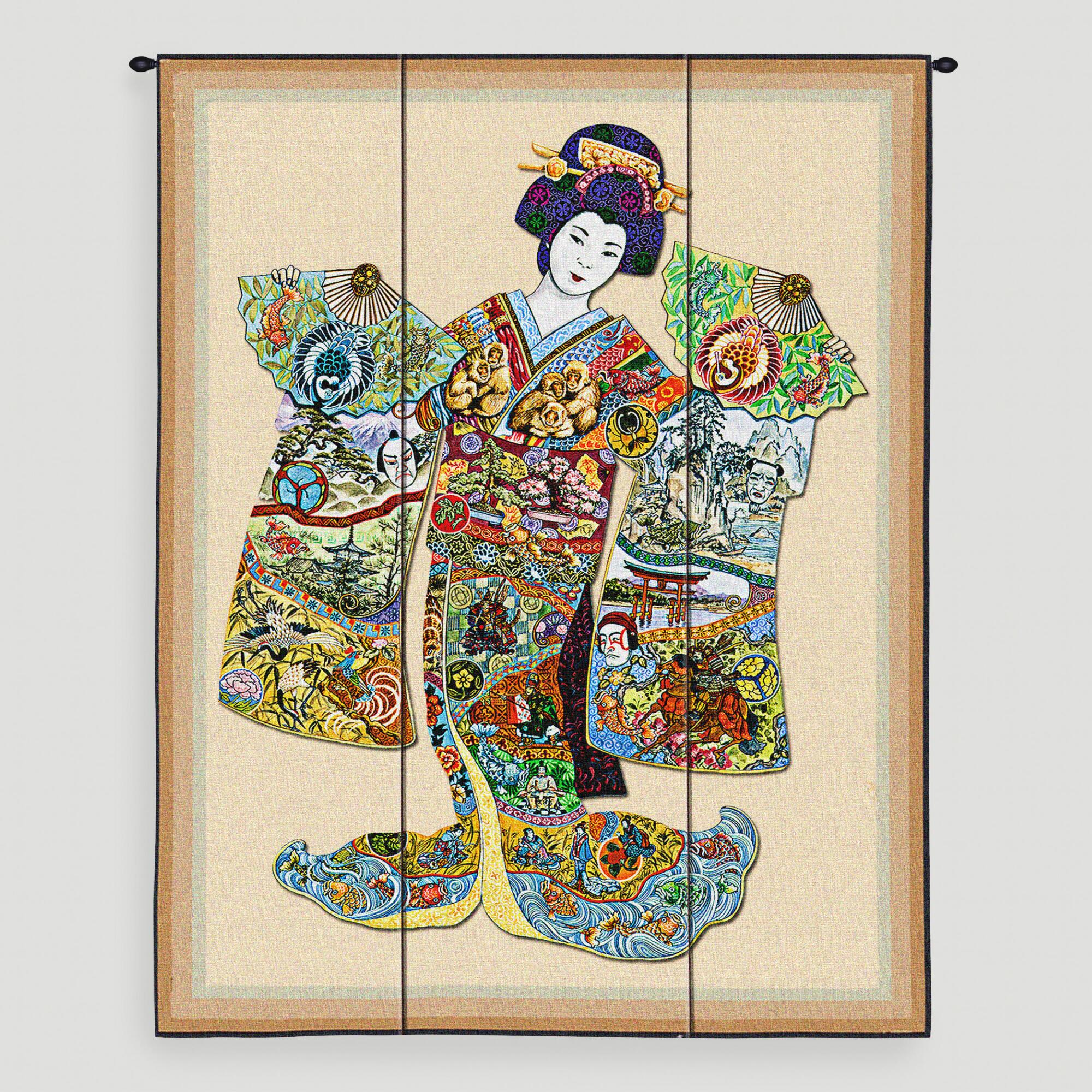 Geisha tapestry wall hanging world market for Wall hangings