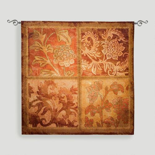 Botanical Scroll Tapestry Wall Hanging