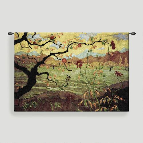 Apple Tree with Red Fruit Tapestry Wall Hanging