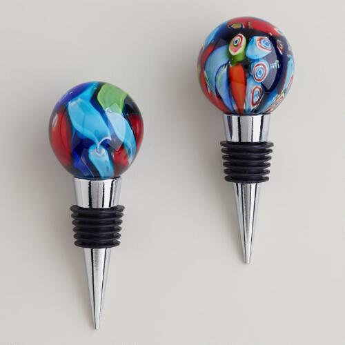 Art Glass Bottle Stoppers, Set of 2