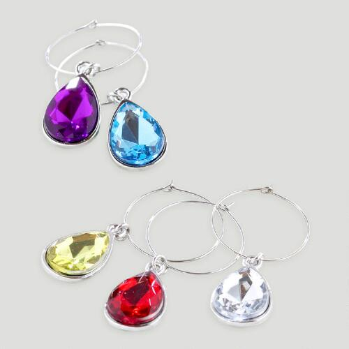 Jeweled Wine Glass Charms, Set of 6