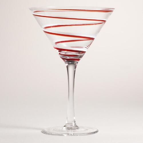 Candy-Cane Martini Glasses, Set of 2