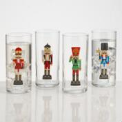 Glass Nutcracker Tumblers, Set of 4