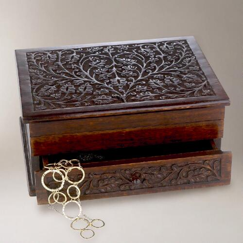 Savarna Carved Wood Jewelry Box
