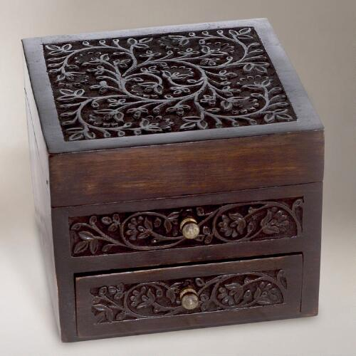 Carved Malini Wood Jewelry Box