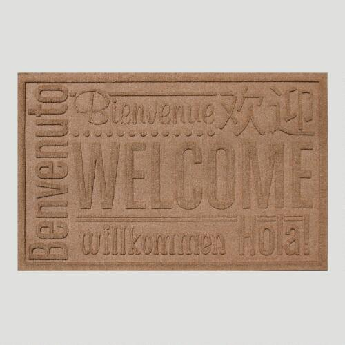 Medium Brown World Wide Welcome WaterGuard Doormat