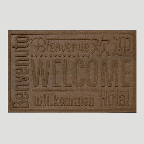 Dark Brown World Wide Welcome WaterGuard Doormat