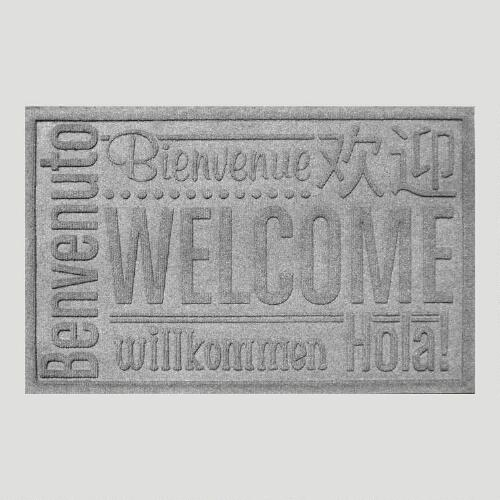 Gray World Wide Welcome WaterGuard Doormat