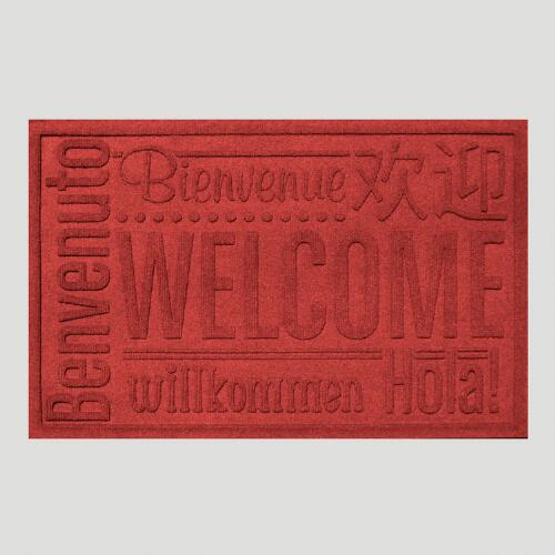 Red World Wide Welcome WaterGuard Doormat