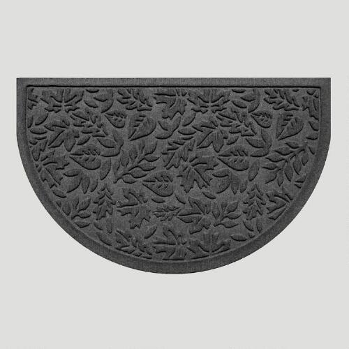 Charcoal Fall Leaves Half-Round WaterGuard Doormat
