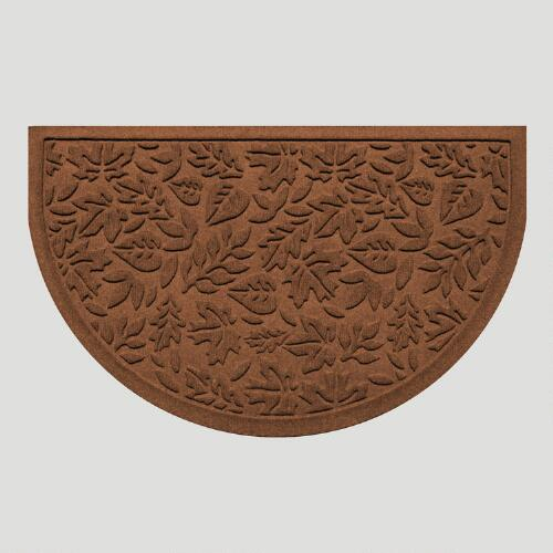 Dark Brown Fall Leaves Half-Round WaterGuard Doormat