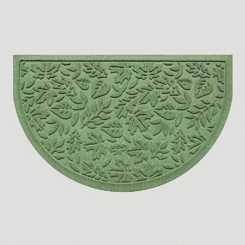 Light Green Fall Leaves Half-Round WaterGuard Doormat