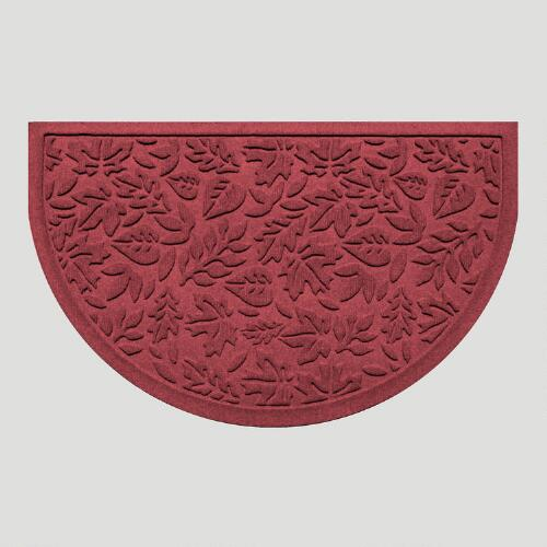 Bordeaux Fall Leaves Half-Round WaterGuard Doormat