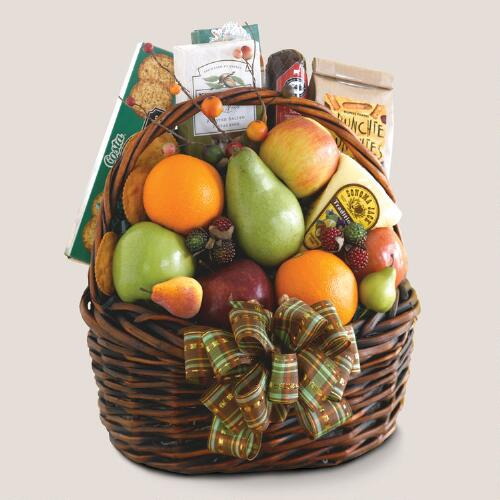 Fall Harvest Fruit Greeting Gift Basket