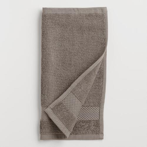 Frost Gray Cotton Washcloths, Set of 2