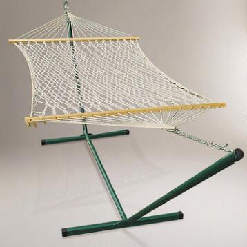 Cotton Rope Single Hammock with Stand