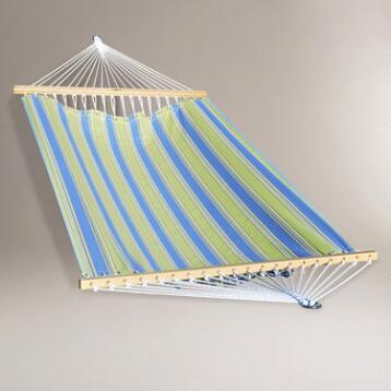 Green and Blue Stripe 2 Person 13' Fabric Hammock