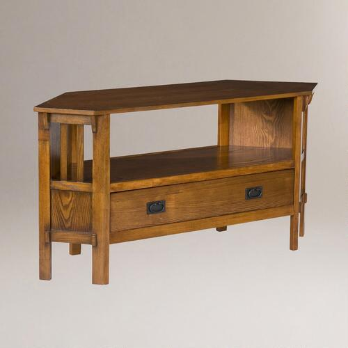 Oak Finish Duncan Corner TV Stand