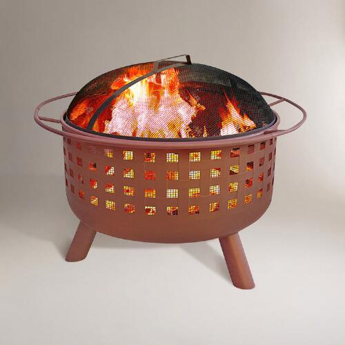 Open Weave Fire Pit, Terracotta Finish