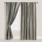 Silver Dupioni Grommet Top Curtains, Set of 2
