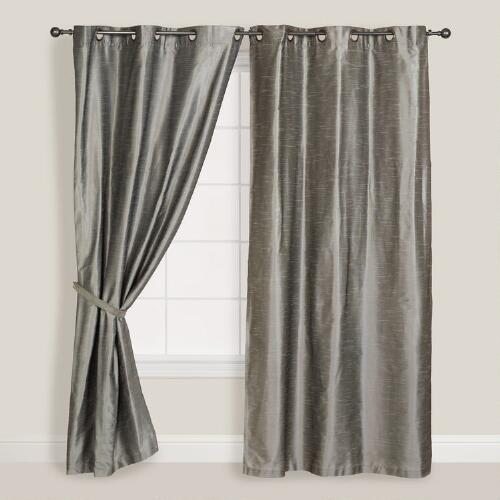 Silver Dupioni Grommet Top Curtain