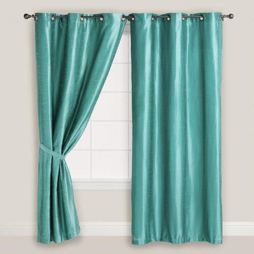 Blue Dupioni Grommet Top Curtain