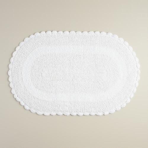 White Oval Crochet Bath Mat
