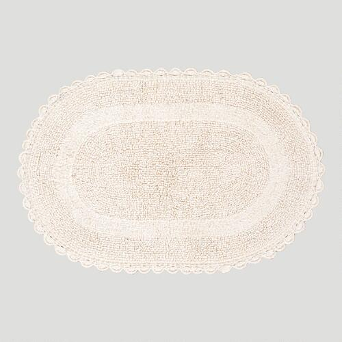 Ivory Oval Crochet Bath Mat