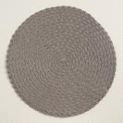 Dark Gray Round Braided Placemats, Set of 4