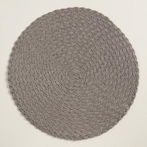 Dark Gray Round Polybraid Placemats, Set of 4