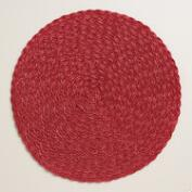 Red Round Polybraid Placemats, Set of 4