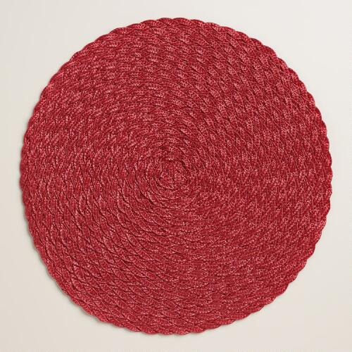 Red Round Braided Placemats, Set of 4