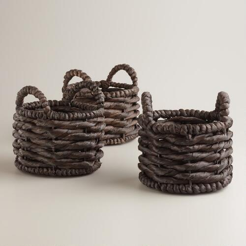 Espresso Mini Jessica Baskets, Set of 3