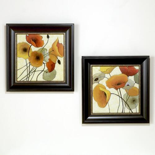 """Pumpkin Poppies"" by Shirley Novak, Set of 2"