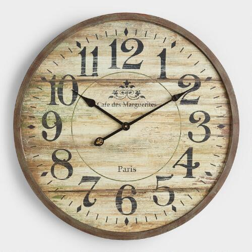 Norah Gray Wash Wood Clock