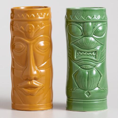 Ceramic Tiki Coolers, Set of 4